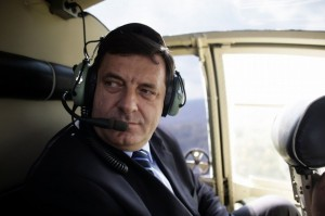 Milorad Dodik, the Prime Minister of Bosnia's Serb republic, is taken by helicopter to a meeting in Ljubija