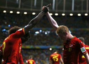 Belgium's Romelu Lukaku celebrates with Kevin De Bruyne after scoring a goal during extra time in the 2014 World Cup round of 16 game between Belgium and the U.S. at the Fonte Nova arena