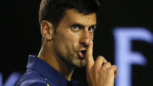 Serbia's Novak Djokovic gestures to a member of the audience to be quiet during his semi-final match against Switzerland's Roger Federer at the Australian Open tennis tournament at Melbourne Park, Australia, January 28, 2016. REUTERS/Tyrone Siu TPX IMAGES OF THE DAY