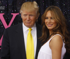 """Donald Trump and Melania Trump arrive during the """"Sex And The City"""" movie premiere at Radio City Music Hall in New York May 27, 2008. REUTERS/Joshua Lott (UNITED STATES) - RTX68GU"""