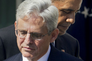Federal appeals court judge Merrick Garland, with President Barack Obama as he is introduced as Obama's nominee for the Supreme Court during an announcement in the Rose Garden of the White House, in Washington, Wednesday, March 16, 2016.  Garland, 63, is the chief judge for the United States Court of Appeals for the District of Columbia Circuit, a court whose influence over federal policy and national security matters has made it a proving ground for potential Supreme Court justices. (AP Photo/Pablo Martinez Monsivais)